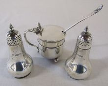 Pair of silver pepper pots Birmingham 1900 weight 2.32 ozt and silver mustard pot with blue glass