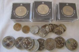 Quantity of Silver Jubilee crowns, 50p coins, 1988 Canadian dollars & Five pounds coins