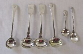 Assorted silver condiment spoons inc London 1802,1810,1866 (2) and Sheffield 1899 total weight 1.
