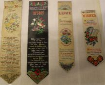 4 Stevengraph bookmarks - Unchanging Love (unrecorded), Happy New Year, A Birthday Wish, With Best