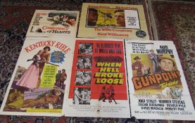 Selection of 5 large vintage film posters - Conspiracy of hearts, Kentucky Rifle, When hell broke