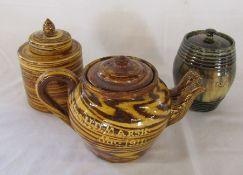 Slipware double spouted teapot marked 'Mrs H D Marsh Nov. 1911', slipware lidded jar 'C Hammon Feb