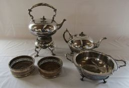 Silver plated spirit kettle on stand with teapot, dish and pair of wine coasters