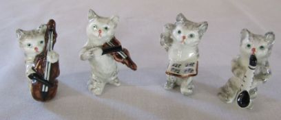 4 Beswick cat band figures H 5 cm (bow af)