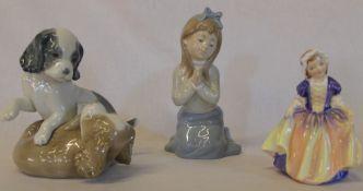 2 Nao figurines - girl praying and 2 dogs & Royal Doulton Dinky Do HN1678