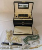 Jewellery box containing assorted costume jewellery, pearls and watches