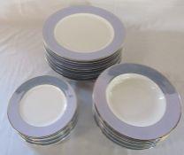 Set of Bernardaud Limoges porcelain Dune pattern dinner plates D 31 cm, bowls and side plates