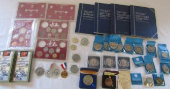 Assorted commemorative coins inc Queen Mother's 90th birthday, 50th anniversary of D Day landings
