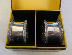 Boxed pair of silver napkin rings Birmingham 1945 weight 1.23 ozt