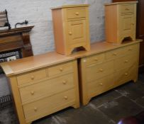 Light wood bedroom suite comprising 2 chest of drawers & a pair of bedside cabinets. Largest L 134cm