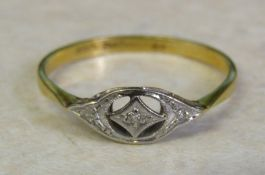 Tested as 18 ct gold and diamond chip ring size S weight 2.1 g