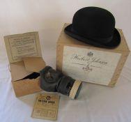 "Herbert Johnson Burlington Street London bowler hat L 28 cm W 23 cm circumference 21"" in original"