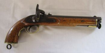 """19th century Tower percussion cap pistol with 10"""" barrel dated 1865 crown mark, brass mounts, walnut"""