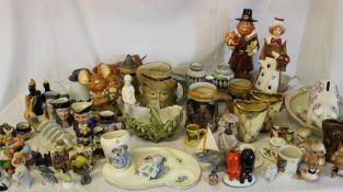 Selection of mixed ceramics including Withernsea Pottery, Wedgwood, Pendelfin, toby jugs & horse