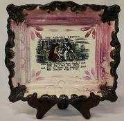 """Sunderland lustre rectangular plaque """"The Sailors Return"""", dia. 23cm (restoration top right)"""