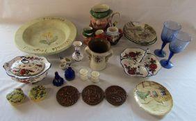 Various ceramics etc inc. character jugs, Beswick, Delft, collectors plates etc