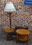 Standard lamp, small drop leaf table and 2 occasional tables