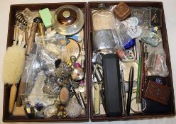 2 trays of collectables including hat pins, buttons, perfume bottles, fountain pens, penknives etc.