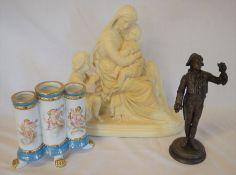 Plaster figurine of Jesus, Mary & John the baptist, Meissen style triple spill vase & a spelter