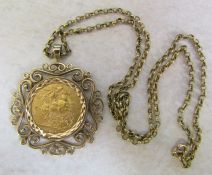 22ct gold full sovereign 1911 in a 9ct gold mount with 9ct gold chain total weight 18.5 g