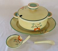 Clarice Cliff Bizarre Ravel pattern large lidded tureen, ladle and meat plate (ladle af) - meat