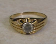 9ct gold 1.00 ct grey diamond solitaire gypsy ring, size 2