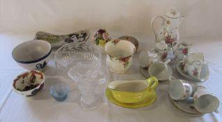 Various ceramics and glassware inc Royal Albert, Noritake and Coalport