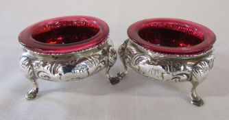 Pair of Victorian silver salts with cranberry glass lining London 1866 weight 3.54 ozt