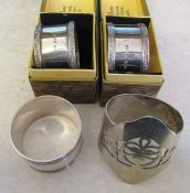 3 silver napkin rings and one unmarked napkin ring total weight 3.22 ozt
