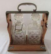 Betjemann's patent two bottle oak Tantalus