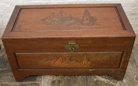 Oriental camphor wood chest 92cm 45cm 49cm