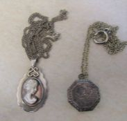 Silver and mother of pearl cameo pendant Birmingham 1975 on silver chain 13.2 g / 0.41 ozt &