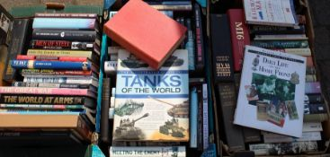 3 boxes of military themed books including reference