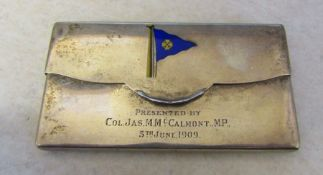 Silver card case with enamelled flag Chester 1908 'Presented by Col. Jas. M McCalmont MP 5th June