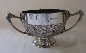 Silver three handled repousse bowl Birmingham 1905 weight 11.49 ozt H 10 cm