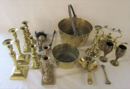 Assorted brassware inc jam pan and candlesticks