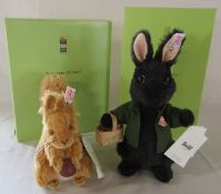 Steiff limited edition Beatrix Potter Black rabbit 13/1500 2009 and Squirrel Nutkin 165/1500 2003