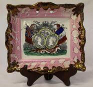 "Sunderland lustre rectangular plaque ""May They Ever Be United"", impressed Dixon Co, dia. 22cm ("