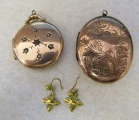 2 9ct gold (back and front) lockets L 4 cm 3.5 cm & pair of 9ct gold leaf earrings 0.5 g