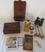 Various items inc whistle, clay pipes, binoculars, box (af), Whites bottle etc