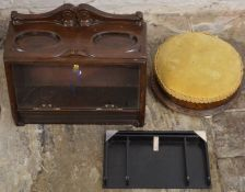 Counter top cigar dispenser, ebonised Art Deco desk tidy & a Victorian foot stool