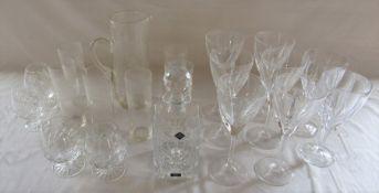 Various glassware inc Edinburgh Crystal decanter, set of 6 large wine glasses, brandy glasses and