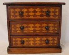 Inlaid wooden 3 drawer hand made cabinet, 29cm tall, 33cm wide, 19cm deep