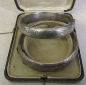2 silver bangles Birmingham 1970 and Birmingham 1960 total weight 1.38 ozt