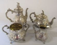 Victorian 4 piece silver tea and coffee service presentation set in lined wooden box 'Presented to