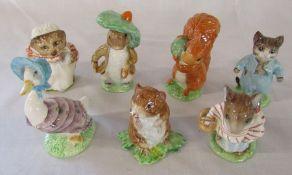 Beswick Beatrix Potter figurines copyright 1940s - Mrs Tiggywinkle 1948, Benjamin bunny 1948,