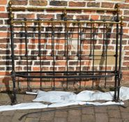 Victorian brass & cast iron bed head, foot & springs