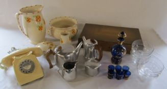 Toilet set, BT telephone, glass finger bowls, wooden cutlery box (empty), Picquot ware coffee and
