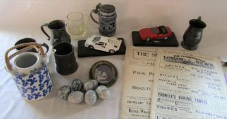 Various items inc die cast cars, pewter and silver plate tankards, onyx eggs, Illustrated news etc