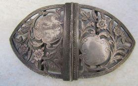 Victorian silver belt buckle Birmingham 1899 weight 1.86 ozt L 11.5 cm